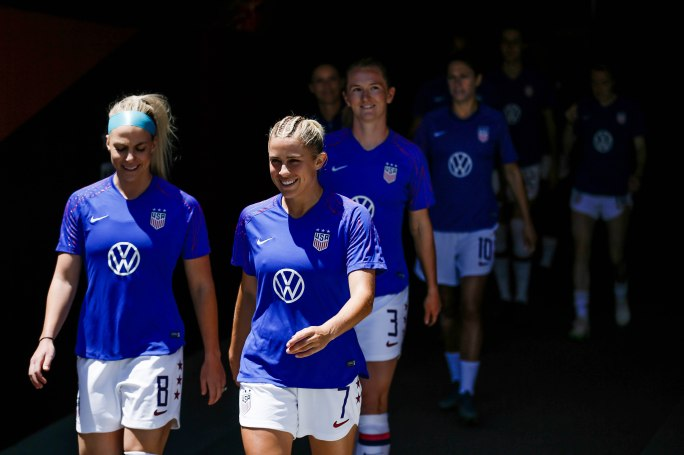 United States defender Abby Dahlkemper (7), center, smiles as she walks out for warm ups next to teammate Julie Ertz (8), left, before their friendly game versus South Africa at Levi's Stadium in Santa Clara, Calf., on Sunday, May 12, 2019. (Randy Vazquez/Bay Area News Group)