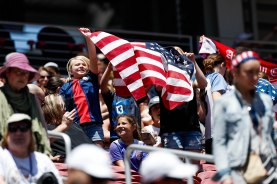 Fans wave a United States flag before the teams friendly game versus South Africa at Levi's Stadium in Santa Clara, Calf., on Sunday, May 12, 2019. (Randy Vazquez/Bay Area News Group)