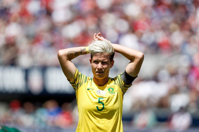 South Africa's Janine Van Wyk (5) tries to get her breath back after taking a hit during the first half of her teams game versus the United States at Levi's Stadium in Santa Clara, Calf., on Sunday, May 12, 2019. (Randy Vazquez/Bay Area News Group)