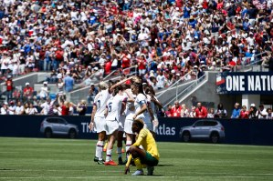 United States players celebrate with teammate Samantha Mewis (3) after scoring during the first half of their friendly game versus South Africa at Levi's Stadium in Santa Clara, Calf., on Sunday, May 12, 2019. (Randy Vazquez/Bay Area News Group)