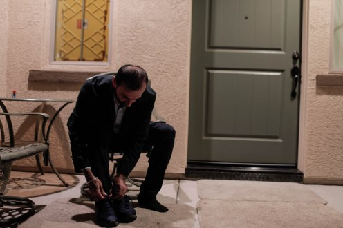 Davinder Sohal, puts his shoes on outside of his home in the River Island community in Lathrop, Calif., on Monday, Oct. 1, 2018. Sohal is one of thousands of people who make the commute from the Central Valley to the Bay Area for work. Sohal leaves his home around 3:30 a.m. to avoid traffic. (Randy Vazquez/Bay Area News Group)