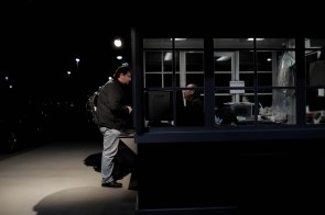 Phil Loesch, left, buys a ticket for the train at the Lathrop/ Manteca ACE station in Manteca, Calif., on Monday, Oct. 1, 2018. Loesch moved to Manteca last month from Hayward and now takes the train that departs the station around 4:30 a.m. (Randy Vazquez/Bay Area News Group)