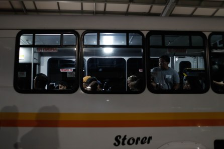 People load a bus at a reunification center at Gavilan College in Gilroy, Calif., on Sunday, July 28, 2019. People were directed to the center following a shooting at the Gilroy Garlic Festival. (Randy Vazquez/Bay Area News Group)
