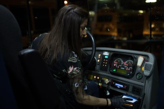 Bus driver Isabel Iorizzo, runs some test on her bus before starting her route at the San Jose Unified School District bus yard in San Jose, Calif., on Thursday, Feb. 28, 2019. (Randy Vazquez/Bay Area News Group)