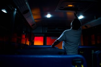 Bus driver Tim McGinnis, inspects his bus before starting his route at the San Jose Unified School District bus yard in San Jose, Calif., on Thursday, Feb. 28, 2019. (Randy Vazquez/Bay Area News Group)