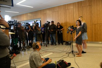 Brynn Ota-Mathews and Gabriella Gaus talk to the media during a press conference at Santa Clara Valley Medical Center in San Jose, Calif., on Thursday, Aug. 1, 2019. Both Ota-Mathews and Gaus suffered gunshot wounds at the Gilroy Garlic Festival. (Randy Vazquez/Bay Area News Group)