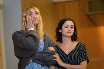 Brynn Ota-Mathews, left, and Gabriella Gaus, right, hold each other during a press conference at Santa Clara Valley Medical Center in San Jose, Calif., on Thursday, Aug. 1, 2019. Both Ota-Mathews and Gaus suffered gunshot wounds at the Gilroy Garlic Festival. (Randy Vazquez/Bay Area News Group)