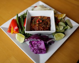 Prahok ktissat with vegetables is photographed at Channy Laux's home in Fremont, Calif., on Thursday, Feb. 7, 2019. Laux is a chef and founder of Angkor Cambodian Foods, which specializes in sauces and condiments used in Cambodian cuisine. Randy Vazquez/Bay Area News Group)