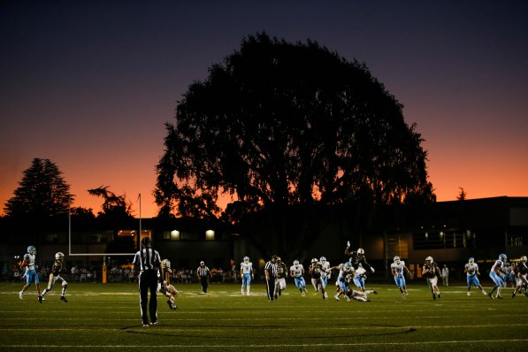 The sun goes down during the Corona del Mar and Saint Francis game at Saint Francis High School in Mountain View, Calif., on Friday, Aug. 30, 2019. (Randy Vazquez/Bay Area News Group)