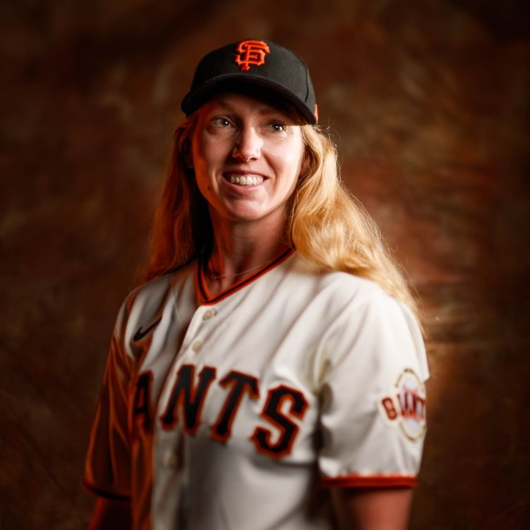 SCOTTSDALE, ARIZONA - FEBRUARY 18: A portrait of San Francisco Giants major league assistant coach Alyssa Nakken (92) during team photo day at Scottsdale Stadium in Scottsdale, Ariz., on Tuesday, Feb. 18, 2020. (Randy Vazquez / Bay Area News Group)