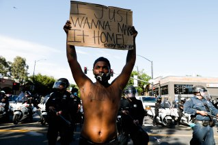 SAN JOSE - MAY 29: Protesters walked down East Santa Clara Street decrying the police killing of George Floyd in downtown San Jose on Friday, May 29, 2020. (Randy Vazquez / Bay Area News Group)