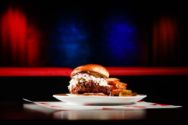 SAN JOSE - NOVEMBER 8: The Nashville hot chicken sandwich with steak fries and sweet and spicy pickles is photographed at San Jose Improv in San Jose, Calif., on Sunday, Nov. 8, 2020. (Randy Vazquez/ Bay Area News Group)